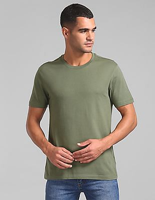 GAP Men Green Vintage Everyday Crew Neck Tee