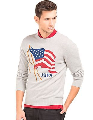 U.S. Polo Assn. Denim Co. Patterned Muscle Fit Sweater