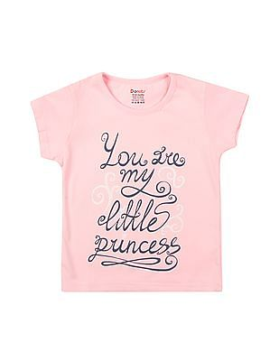 Donuts Girls Printed Front Round Neck T-Shirt