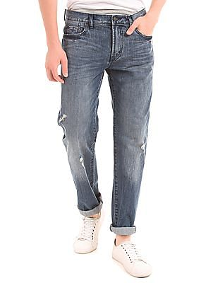Aeropostale Straight Fit Distressed Jeans