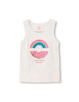 The Children's Place Girls White Sleeveless Graphic Keyhole Tank