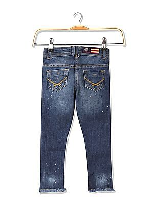 U.S. Polo Assn. Kids Girls Slim Fit Stone Wash Sequinned Jeans