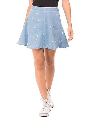 SUGR Floral Print Chambray Flared Skirt