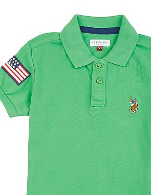 U.S. Polo Assn. Kids Boys Solid Piqued Cotton Polo Shirt