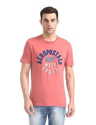 Aeropostale Pink Brand Applique Crew Neck T-Shirt