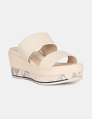 Cole Haan Women White Grand Ambition Flatform Wedge Slides