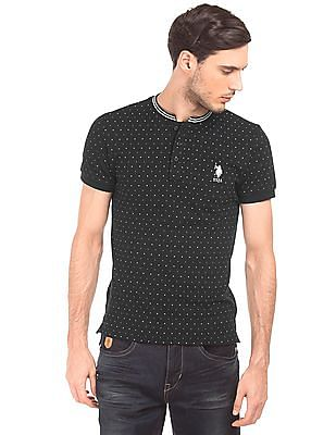 U.S. Polo Assn. Slim Fit Dot Print Henley T-Shirt
