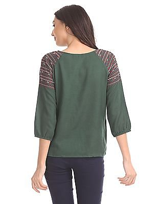 Bronz Embroidered Blouson Top