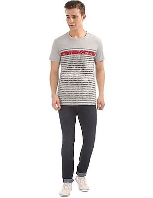 Arrow Sports Striped Front Round Neck T-Shirt