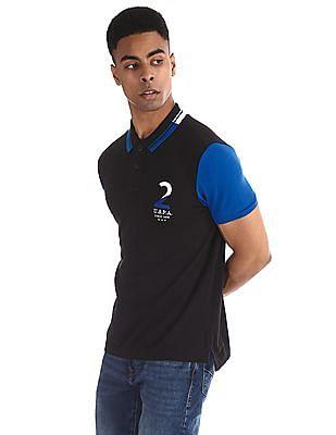 U.S. Polo Assn. Black Embroidered Colour Block Polo Shirt