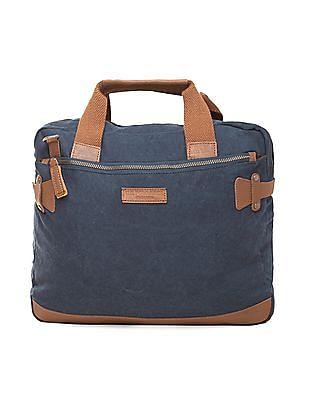 U.S. Polo Assn. Leather Trim Canvas Laptop Bag