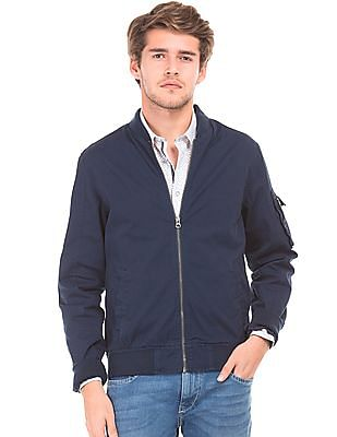 Flying Machine Solid Slim Fit Bomber Jacket