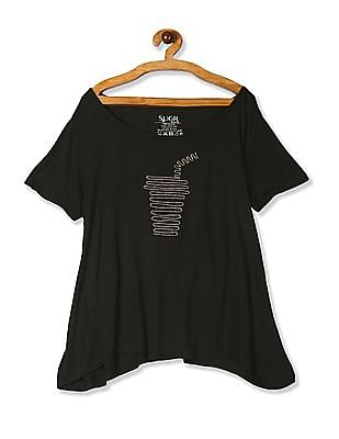 SUGR Green Embroidered Graphic Viscose T-Shirt