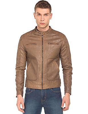 Flying Machine Textured Faux Leather Biker Jacket