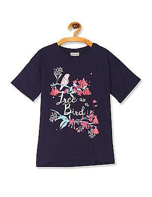 Cherokee Blue Girls Drop Shoulder Printed T-Shirt