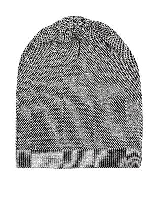Unlimited Grey Patterned Knit Beanie