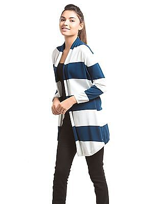 U.S. Polo Assn. Women Open Front Striped Shrug