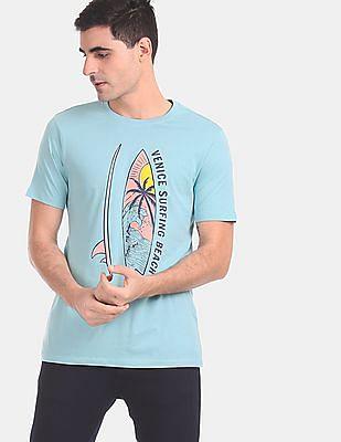 Colt Men Blue Ribbed Neck Printed T-Shirt