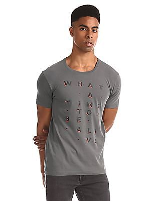 Flying Machine Grey Crew Neck Cotton T-Shirt