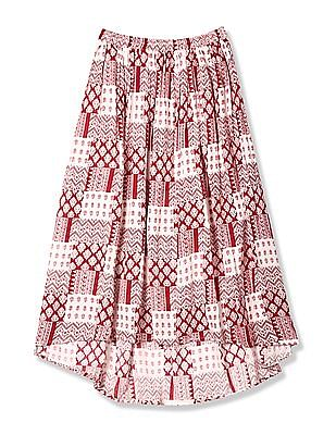 Cherokee Red Girls Printed High Low Skirt