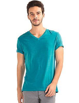 GAP Men Green Vintage Wash V-Neck T-Shirt