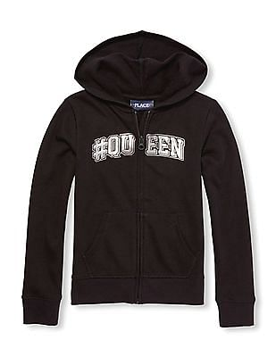 The Children's Place Girls Active Long Sleeve Foil Graphic Full-Zip Hoodie