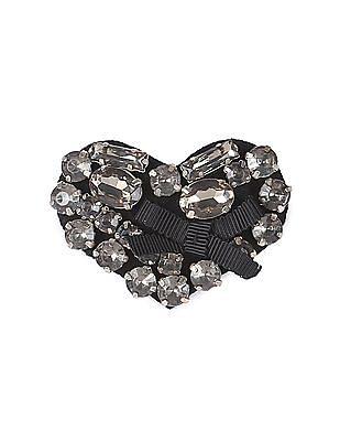 Arrow Woman Embellished Heart Shape Brooch