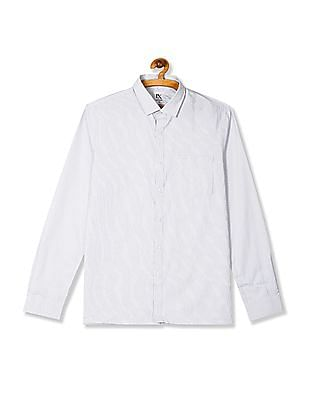 Excalibur White Patterned Stripe Long Sleeve Shirt