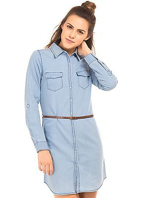 Flying Machine Women Stone Washed Chambray Shirt Dress