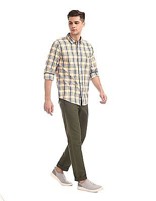 Ruggers Green Urban Slim Fit Solid Trousers