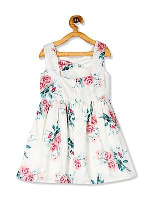 The Children's Place Toddler Girl Sleeveless Rose Print Cutout Back Woven Dress