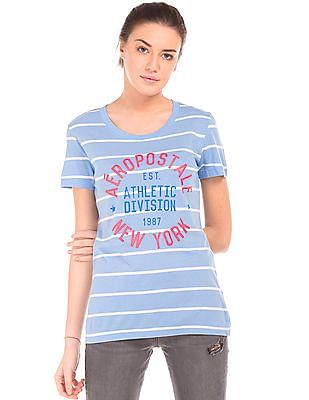 Aeropostale Printed Front Striped T-Shirt