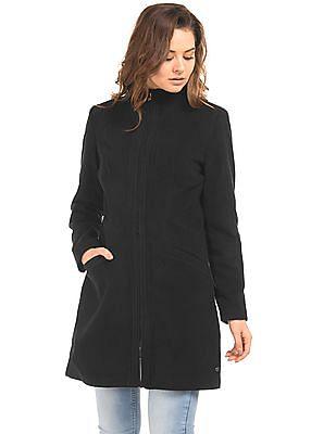 U.S. Polo Assn. Women Stand Collar Zip Up Trench Coat