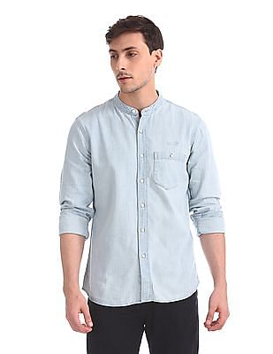 Cherokee Mandarin Collar Denim Shirt