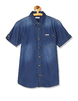 U.S. Polo Assn. Kids Boys Short Sleeve Chambray Shirt