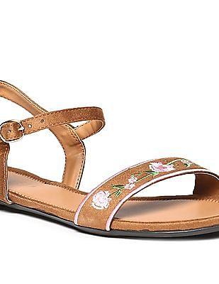Bronz Ankle Strap Open Toe Sandals