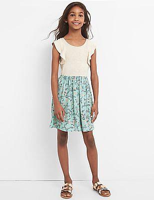 GAP Girls White Mix Fabric Flutter Dress