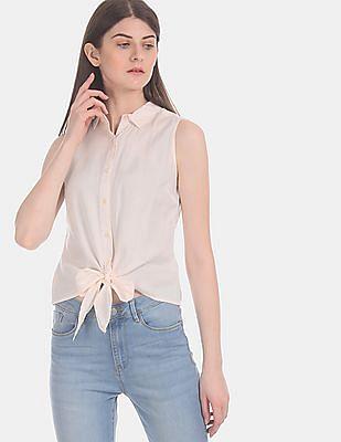 Flying Machine Women Beige Tie-Up Hem Sleeveless Shirt