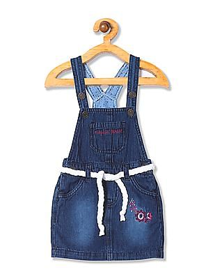 Donuts Girls Washed Dungaree Skirt