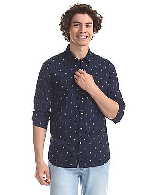 Flying Machine Blue Regular Fit Contrast Print Shirt
