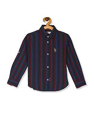 U.S. Polo Assn. Kids Blue Boys Spread Collar Stripe Shirt