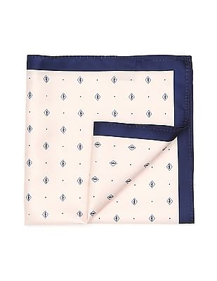 Arrow Contrast Hem Brand Print Pocket Square