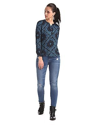 Aeropostale Blue Mandarin Collar Printed Top
