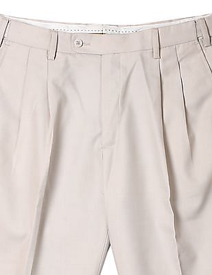 Arrow Smart Regular Fit Pleated Front Trousers