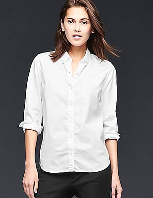GAP Women White Fitted Boyfriend Oxford Shirt
