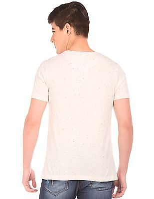 Flying Machine Graphic Print Speckled T-Shirt