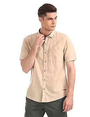 Cherokee Beige Short Sleeve Cotton Linen Shirt