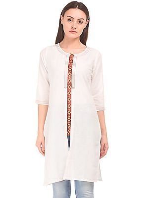 Karigari Embroidered Panel Cotton Kurta