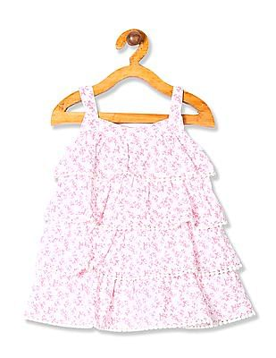 Donuts Girls Contrast Print Tiered Dress