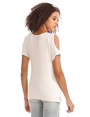 Aeropostale Cold Shoulder Embroidered T-Shirt